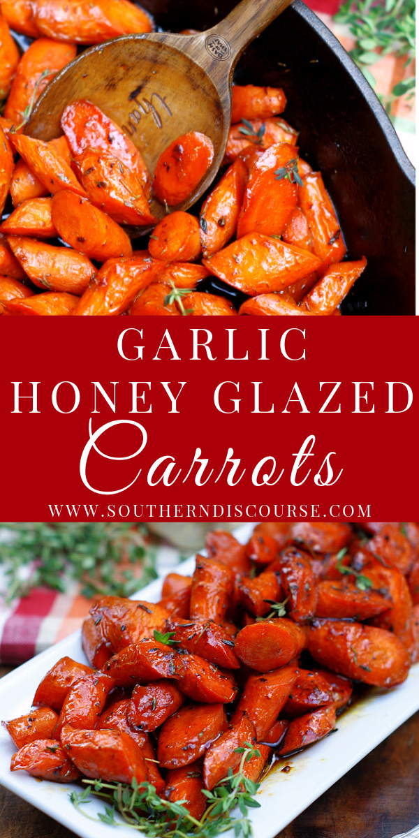 Caramelized in a sweet savory blend of honey, garlic, butter, chicken broth & thyme, this easy oven roasted carrot side dish makes every night special!