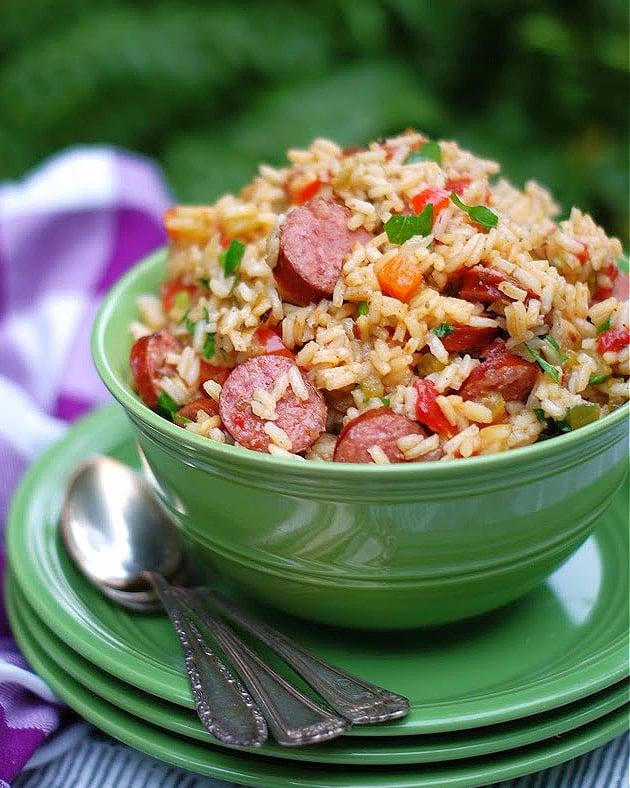 Easy Louisiana Sausage Jambalya in a green bowl