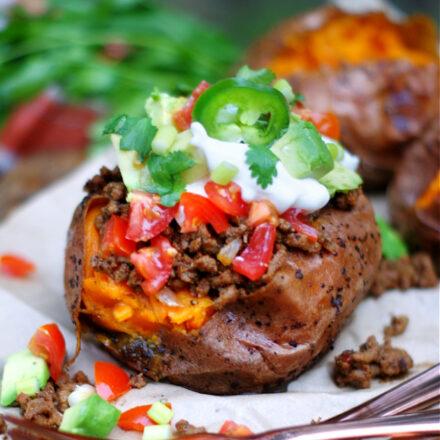 completed taco stuffed sweet potato