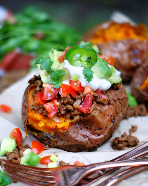 completed taco stuffed sweet potato