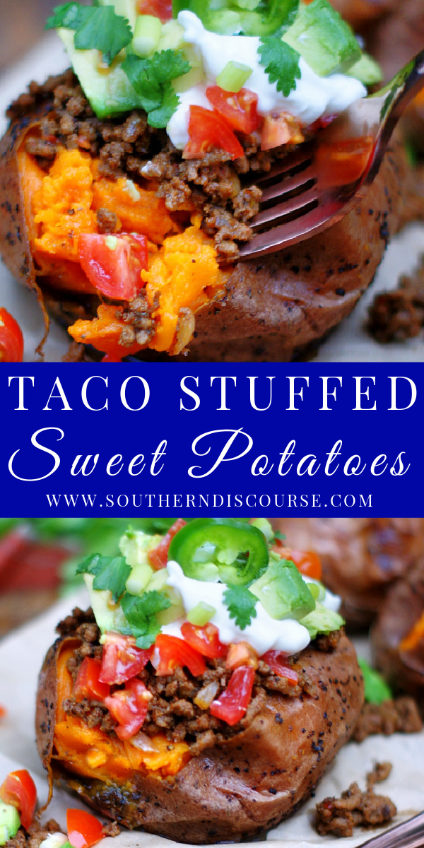 A little sweet, a lot of savory and loaded with all the things you love about your favorite taco, this easy Taco Stuffed Sweet Potato recipe with ground beef pack a true flavor punch with every bite!