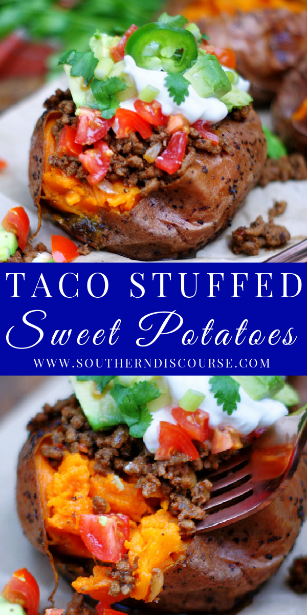 A little sweet, a lot of savory and loaded with all the things you love about your favorite taco, this easy Taco Stuffed Sweet Potato recipe with ground beef packs a true flavor punch with every bite!