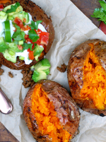 Taco stuffed baked sweet potatoes