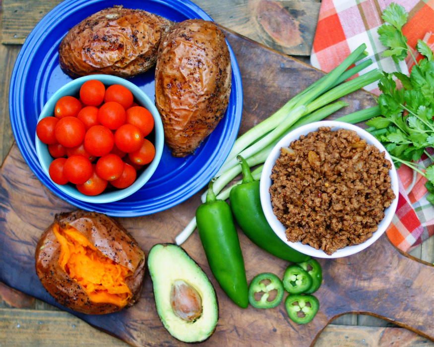 Ingredients for taco stuffed sweet potato
