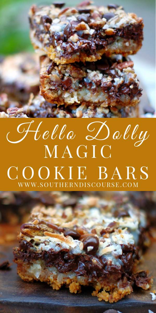 Make the best Hello Dolly Magic Cookie Bars with this easy recipe. Loaded with coconut, pecans, chocolate chips and a buttery graham cracker crust, these 7 layers of goodness are the perfect party dessert. #Christmas #Easter