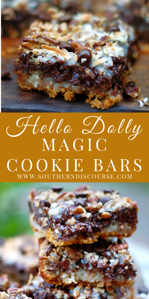 Make the best Hello Dolly Magic Cookie Bars with this easy recipe that requires zero mixing or kitchen tools!  Loaded with chewy browned coconut, crunchy pecans, oodles of melted chocolate chips, sweetened condensed milk and a buttery graham cracker crust, these 7 layers of traditional southern goodness just happen to be the perfect indulgent dessert for any occasion.