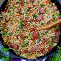 Easy Louisiana Sausage Jambalaya finished in cast iron skillet