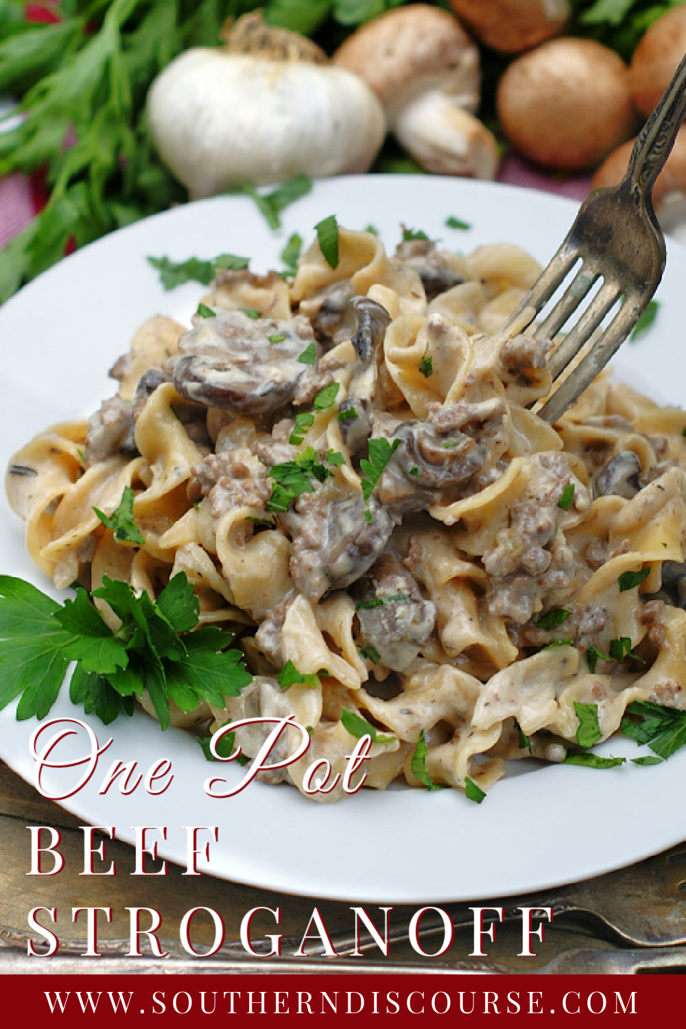 the classic Stroganoff flavors you love in an easy one pot recipe! Luscious sour cream sauce, savory ground beef & mushrooms, silky egg noodles make every night a comfort food night!