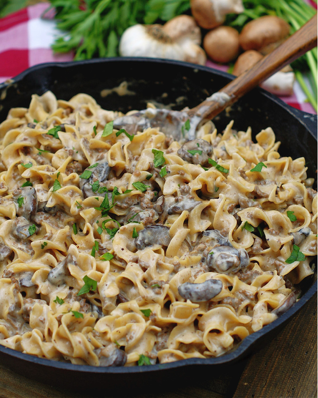 Completed One Pot Hamburger Stroganoff in a skillet.