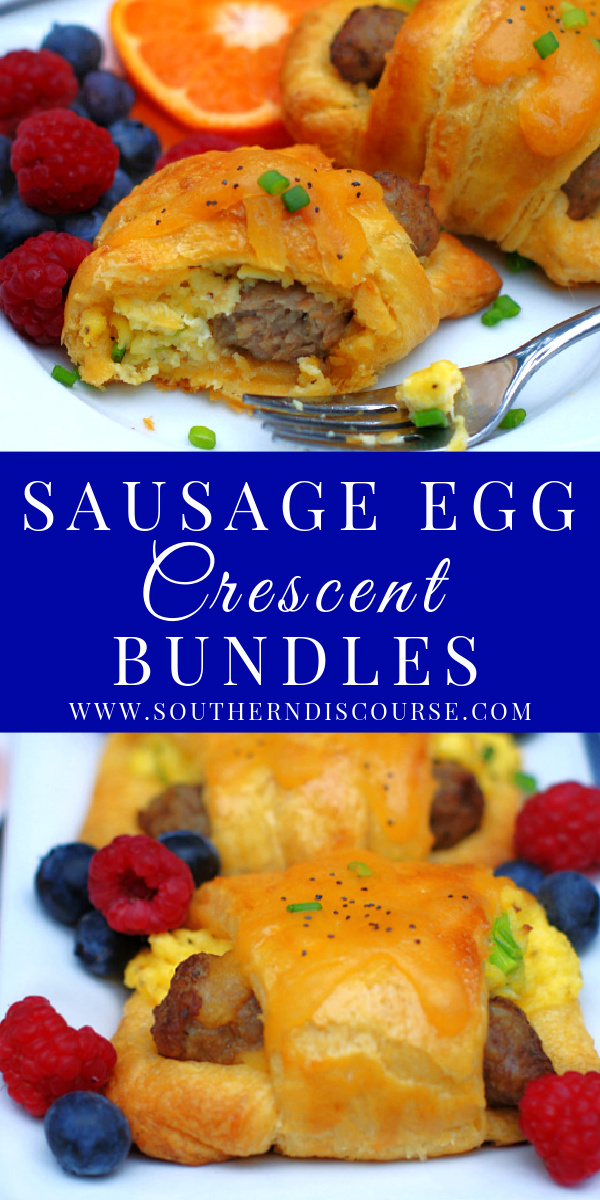 Tender, flaky crescent rolls wrapped around fluffy scrambled eggs with cheese and link sausage are perfect for breakfast and brunch!