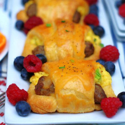 A completed Sausage & Egg Crescent Roll Bundle