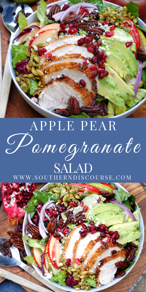 This fresh salad with pomegranate seeds, pears, apples is the perfect fall side dish! Glazed pecans, red onion, and goat cheese only add to the flavor. An easy pomegranate vinaigrette dressing tops it off. Add chicken and avocado to make an entire meal.