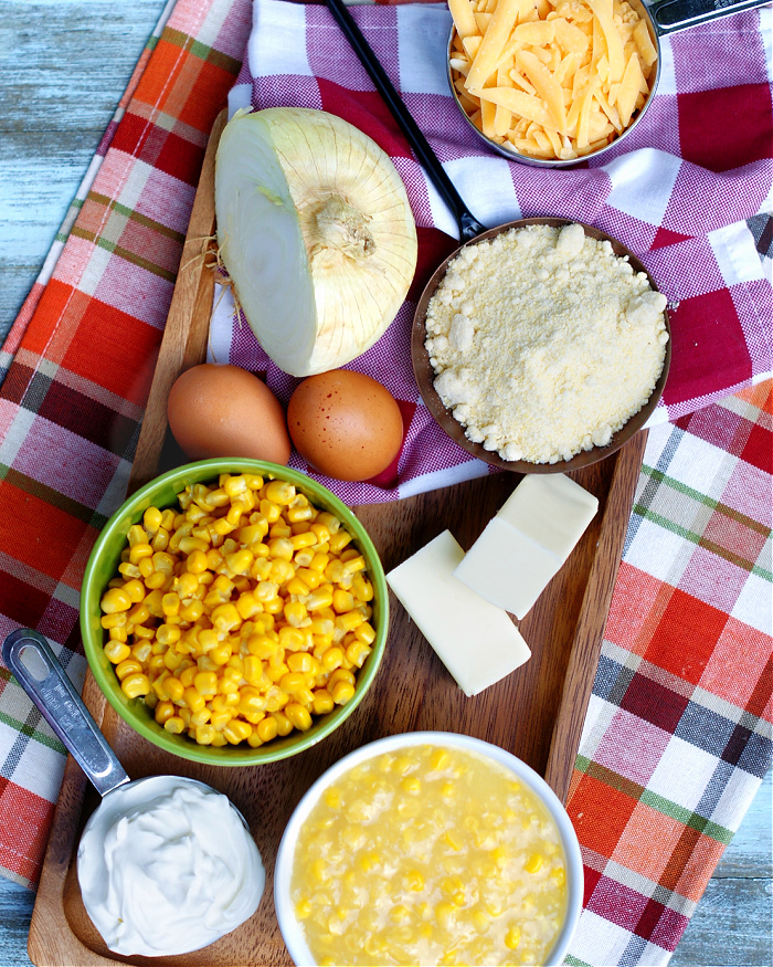 Ingredients to make Southern Cornbread Pudding Casserole