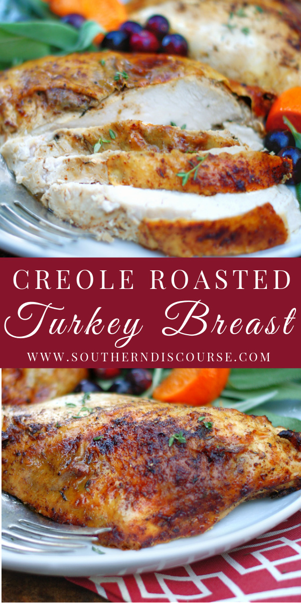 Coated with simple creole seasoning & butter and roasted with fresh herbs & touch of citrus, Creole Roasted Breasts are deliciously tender, juicy bone-in turkey breasts full of savory flavor! Perfect for serving a smaller crowd or when you need extra at holidays or just for a weeknight dinner! #thanksgiving #christmas
