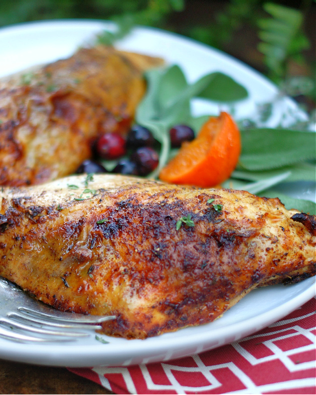 Creole roasted turkey breasts on a serving platter