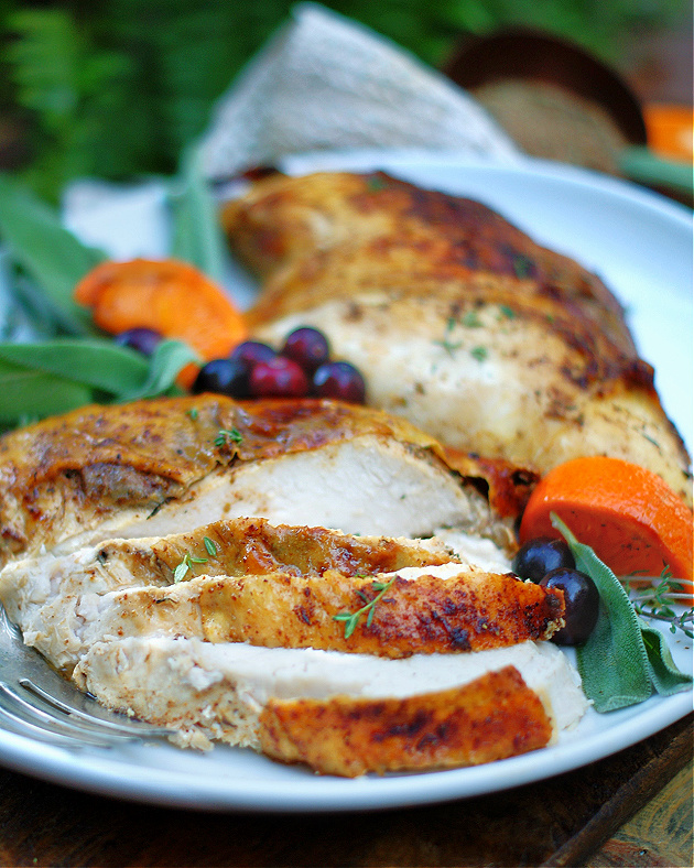 Slices of oven roasted creole turkey breasts