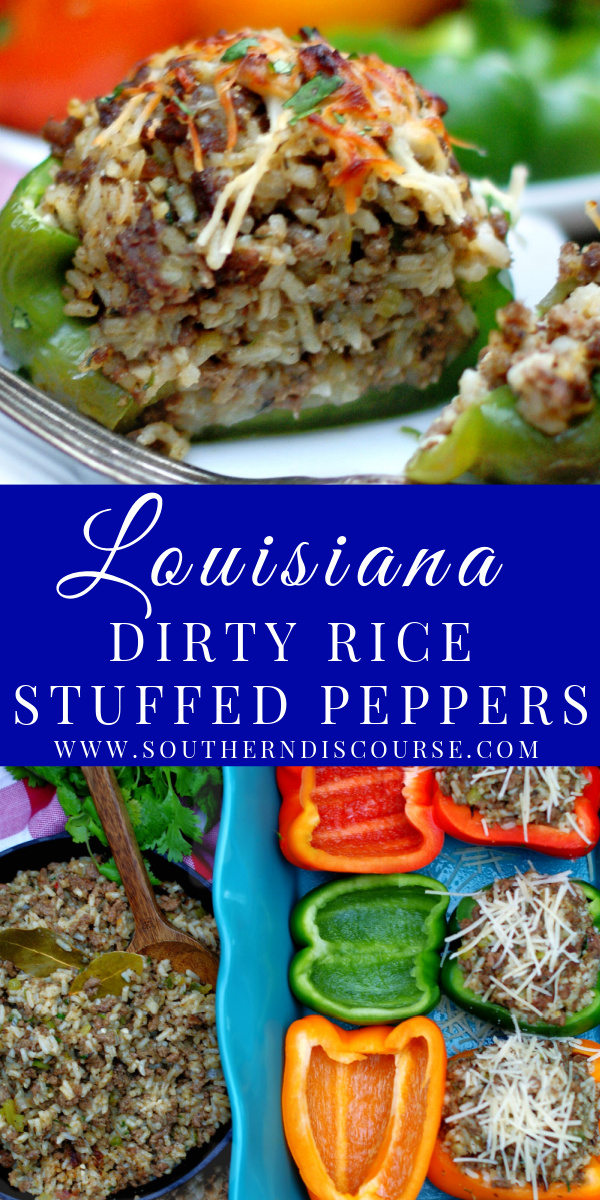 Louisiana Dirty Rice was made to be stuffed into a bell pepper! Richly savory, wonderfully aromatic, the beef, sausage and rice in this recipe marry with zesty bell peppers to create an easy meal. Top with Parmesan cheese for extra yum!