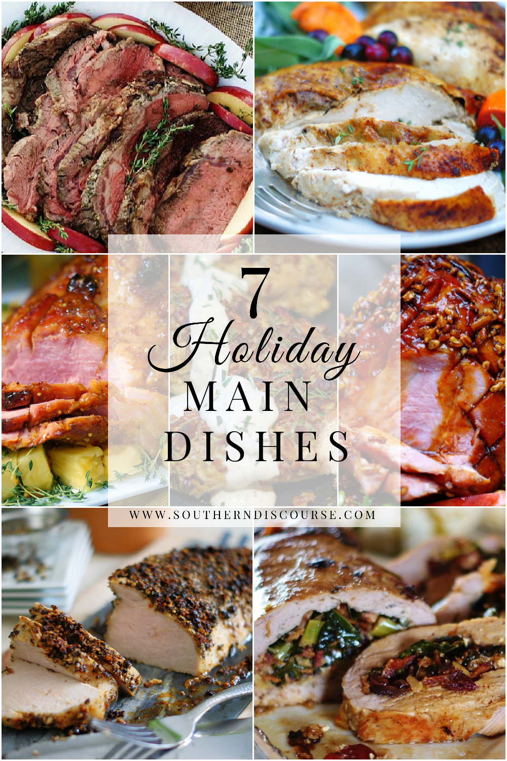 7 holiday main dishes to make your celebrations easy and delicious! From ham to stuffed pork tenderloin to prime rib to turkey- it's all here! #thanksgiving #christmas #easter