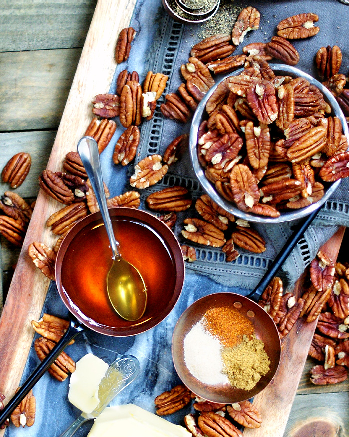 ingredients to make honey spiced pecans