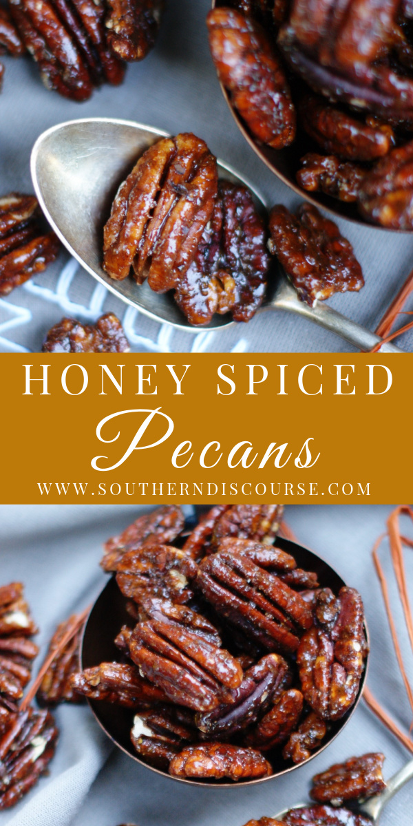 Get ready for your new favorite snack recipe!  A little smoky, a little sweet, loads of savory and super easy, these salty Honey Spiced Pecans are completely addictive.  Made unbelievably delicious with a simple mixture of honey, garlic, Worcestershire, cayenne & cumin, there's no way to eat just one!
