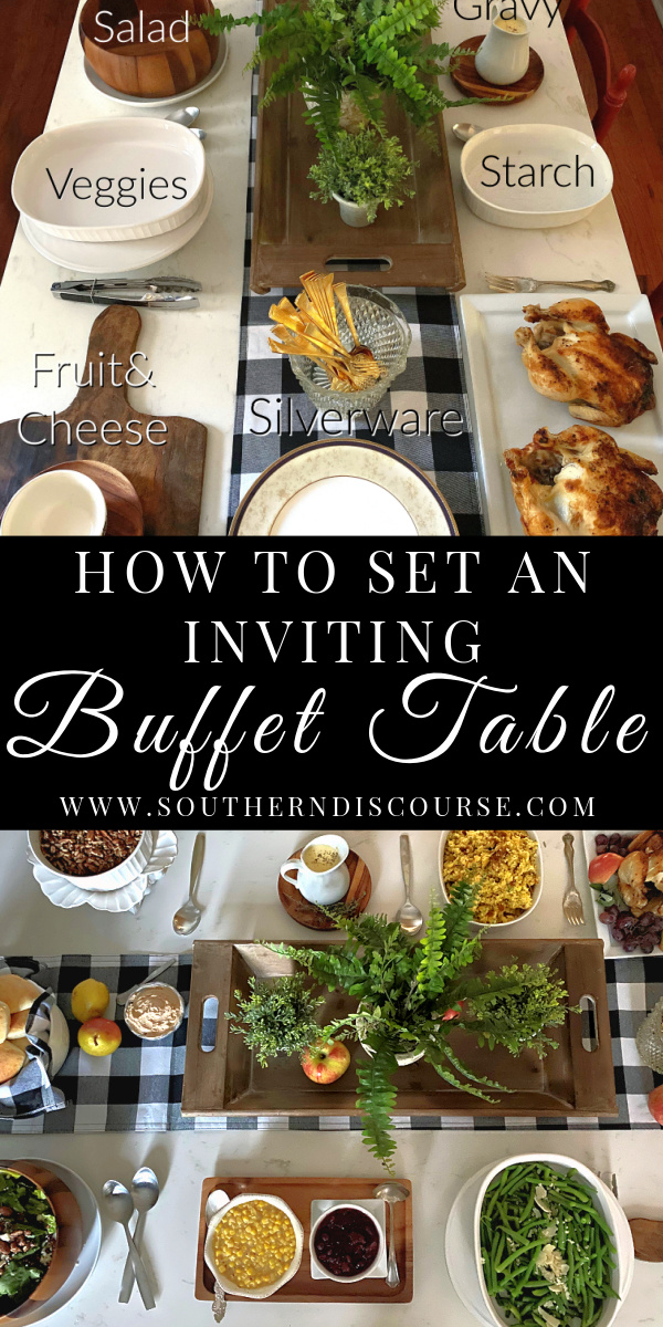 How to set an inviting and functional buffet table for parties & holidays. Tips and ideas for making your buffet beautiful & practical.