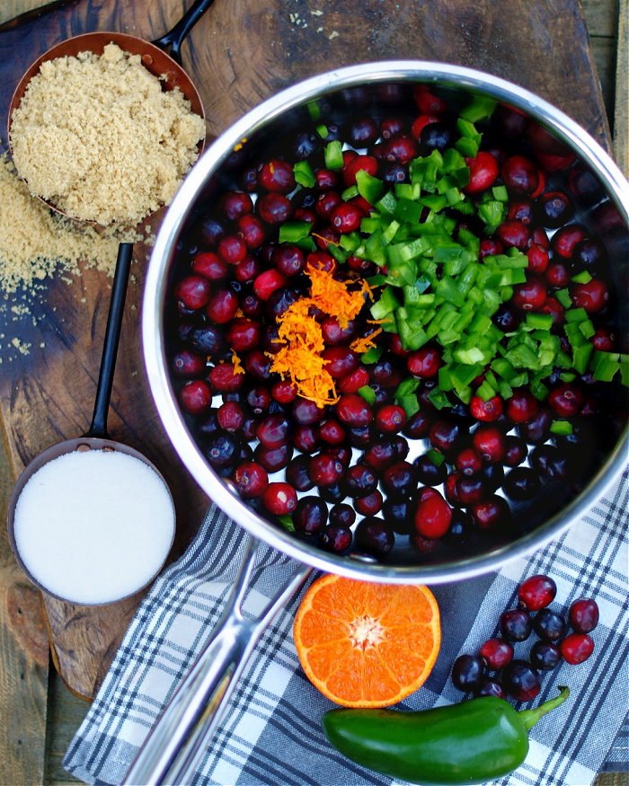 The ingredients for Jalapeno Cranberry Sauce