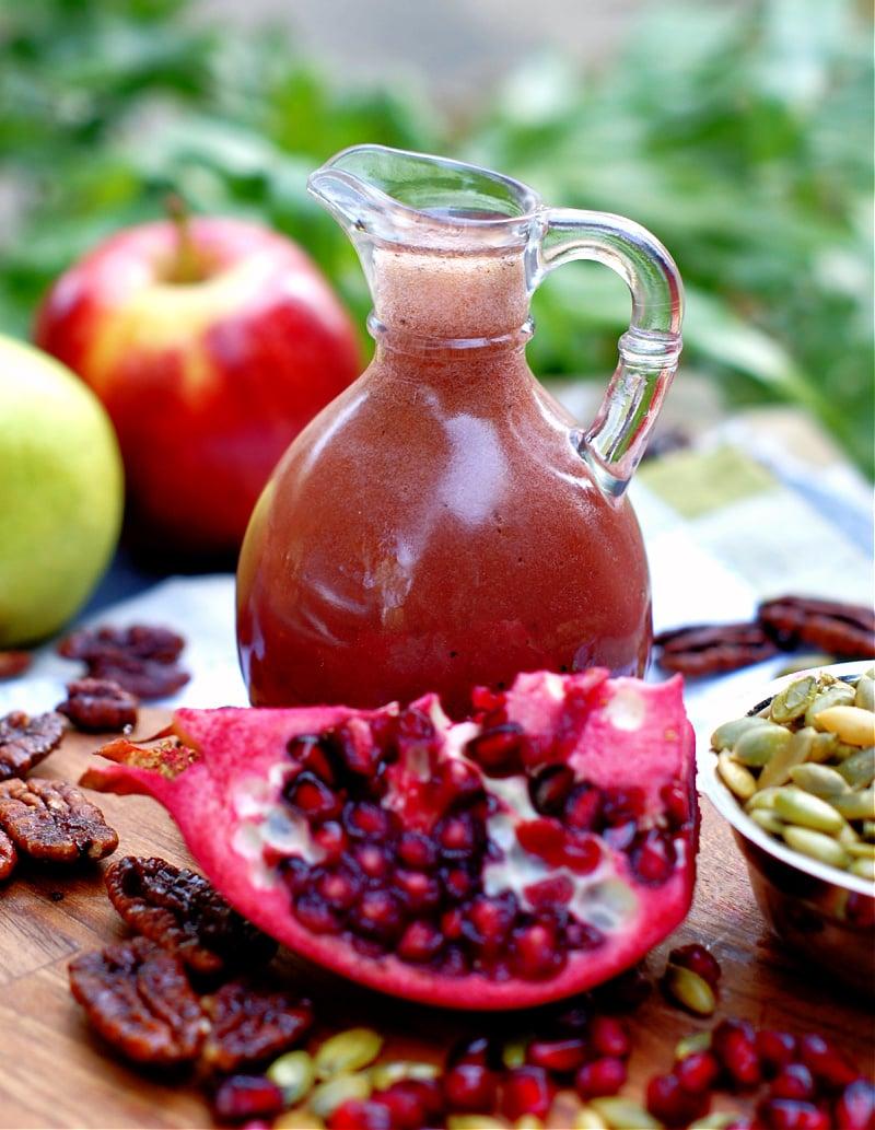 Pomegranate Vinaigrette in a pour bottle