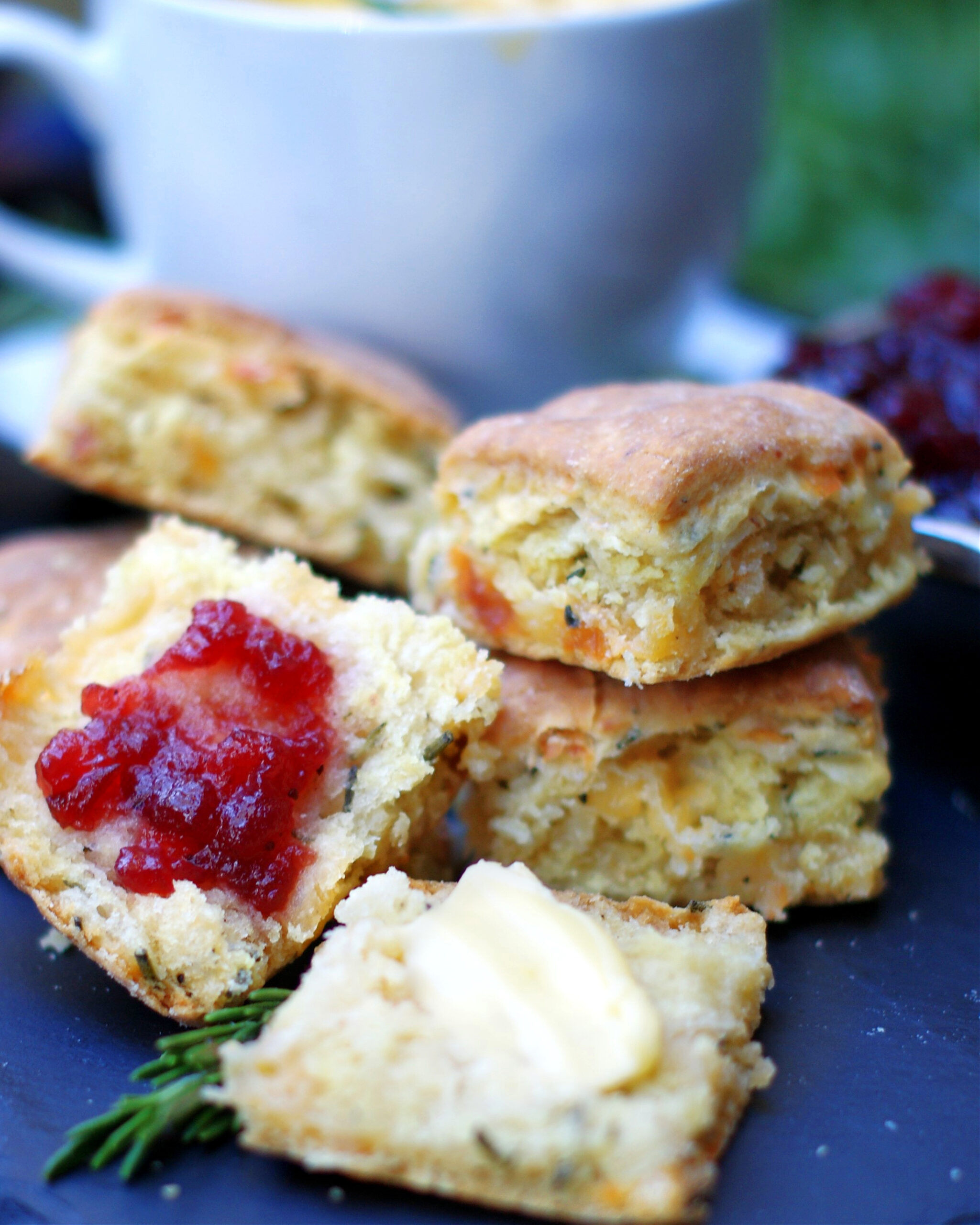 Rosemary Cheddar Biscuits with Jelly