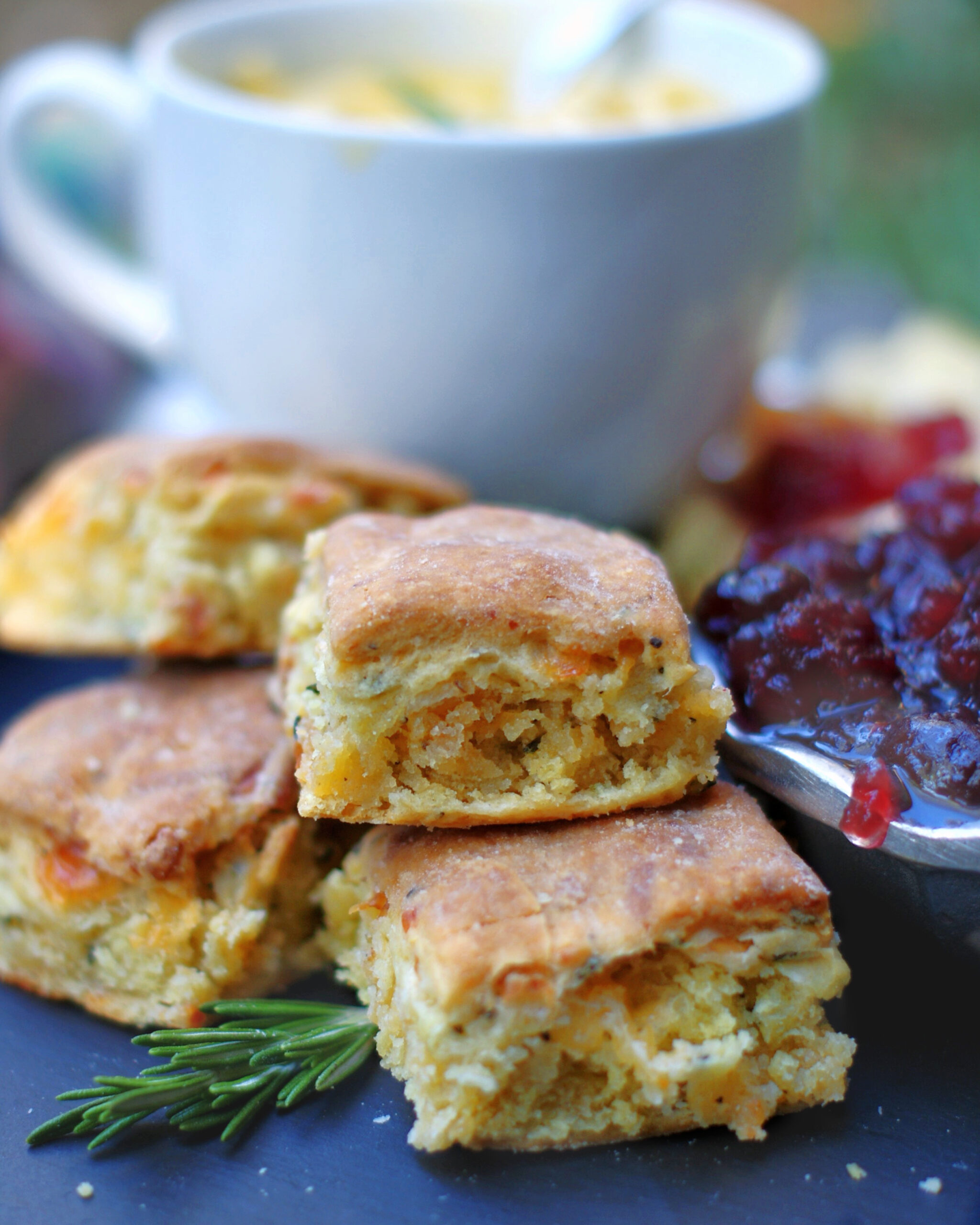 Rosemary Cheddar Biscuits with soup
