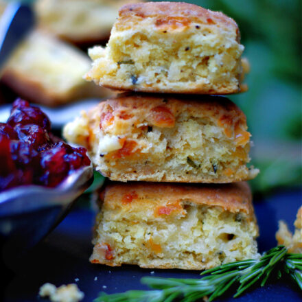 3 Rosemary Cheddar Biscuits stacked