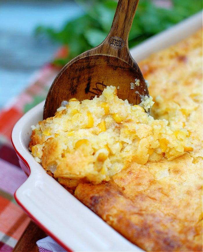 A spoonful of cornbread pudding, or corn casserole.