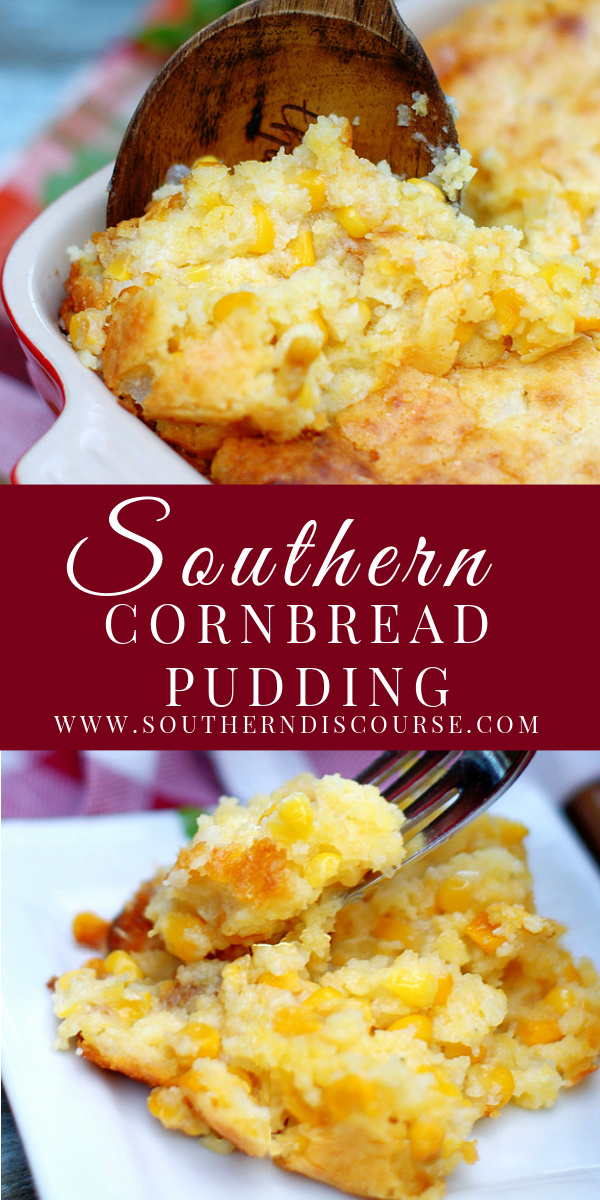 A classic southern recipe that falls somewhere between a sweet, buttery cornbread muffin and a creamy, rich souffle, Southern Cornbread pudding is the ultimate easy comfort side dish. Whipped up quick with Jiffy cornbread mix, sour cream, sharp cheddar cheese, creamed and whole kernel corn, this simple dish will find it's way onto your weeknight & holiday tables! #thanksgiving