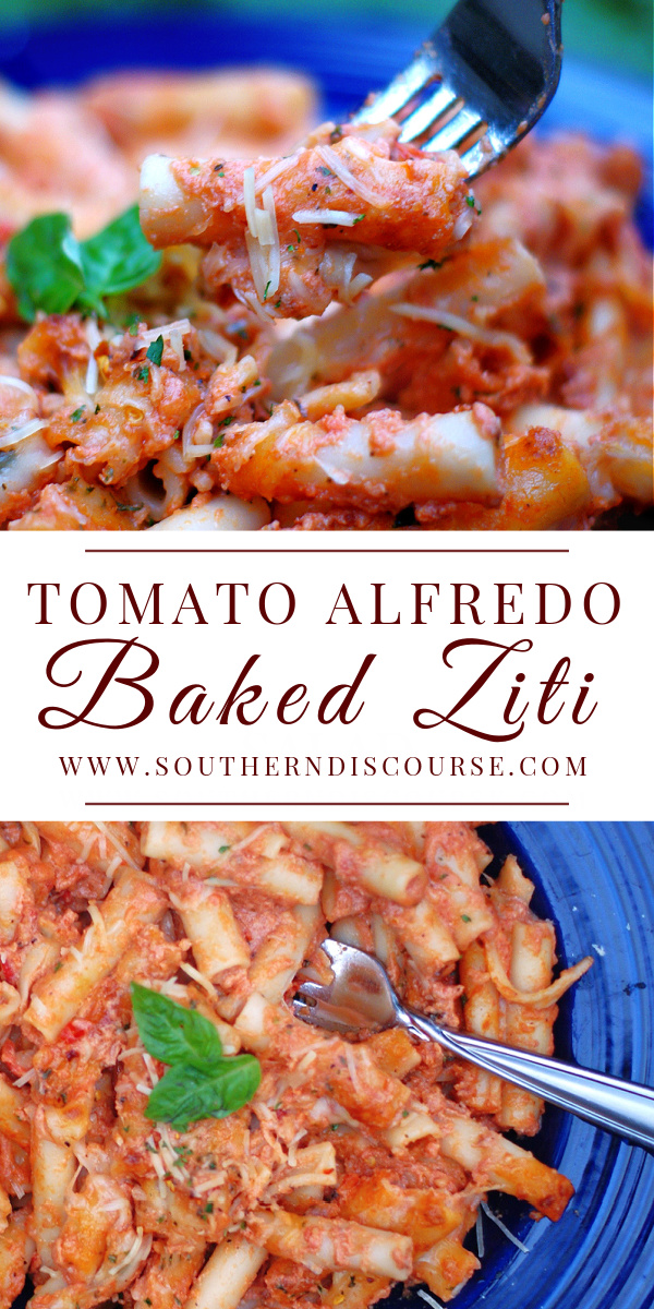 Tomato Alfredo Baked Ziti is an easy family pasta dish that combines marinara and alfredo sauce to create the creamiest, most flavorful comfort pasta dish around!