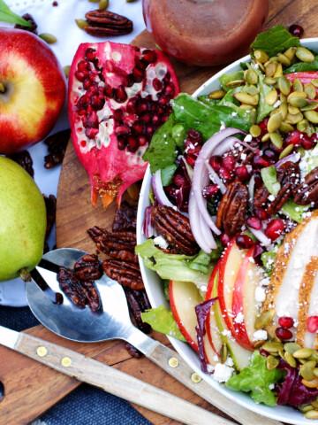 apple, pear, pomegranate salad & pomegranate vinaigrette title