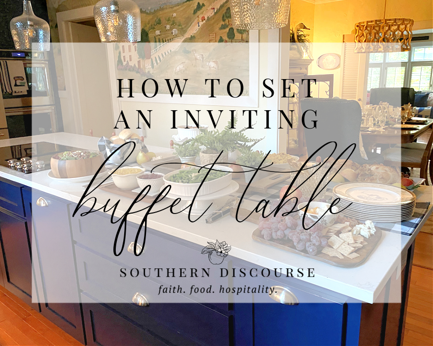 how to set an inviting buffet table title graphic