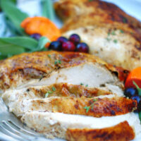 Close up of sliced Oven roasted creole turkey breast