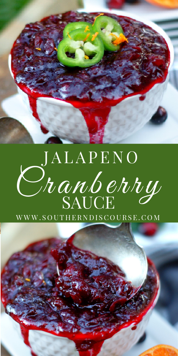 Give homemade whole berry cranberry sauce a spicy kick with this easy sweet heat recipe! Made with fresh cranberries, orange, cinnamon, ginger and just a little jalapeno, this is the BEST cranberry sauce for Thanksgiving or any savory meal that needs a little kick!