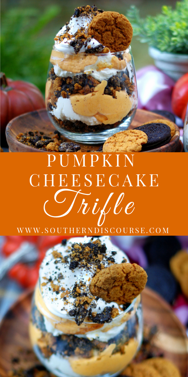A quick & easy no bake pumpkin cheesecake recipe with velvety, rich layers of pumpkin cheesecake, regular cheesecake, crunchy gingersnaps, chocolate cookies and whipped topping.