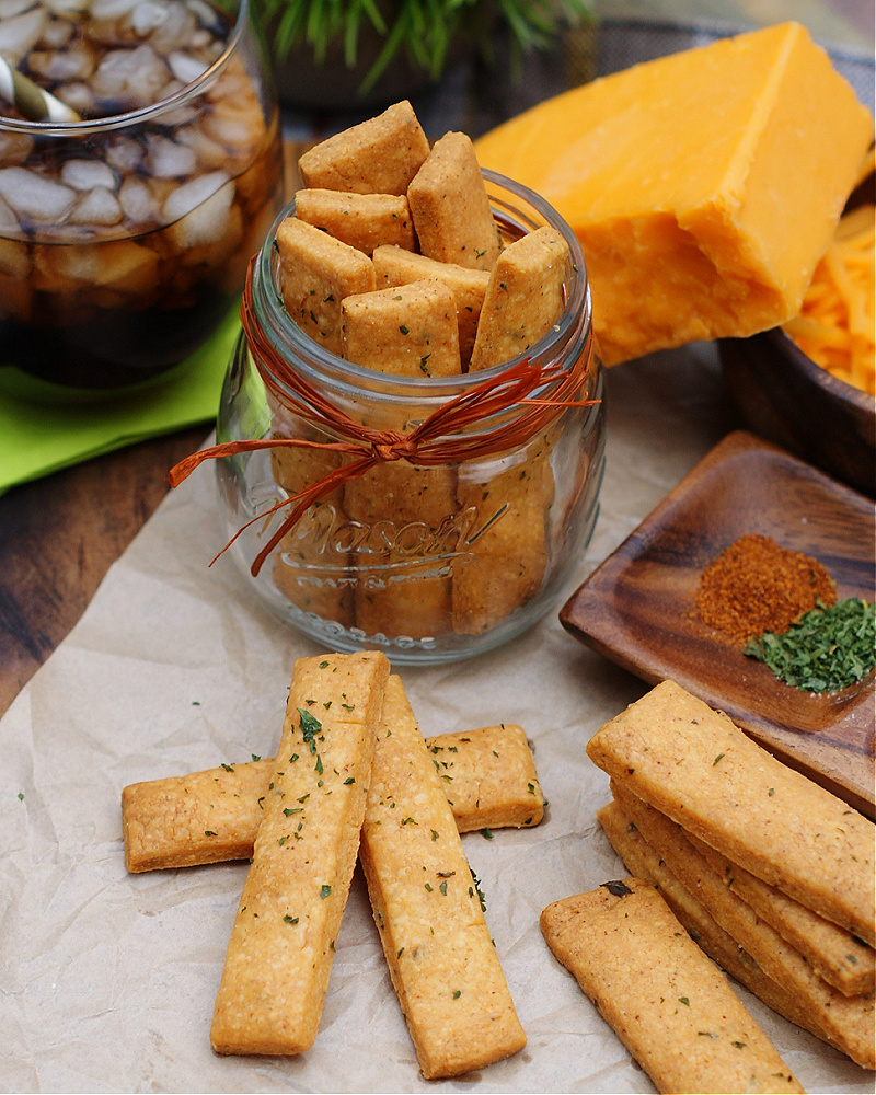 Cheese Straws in a jar and as a snack