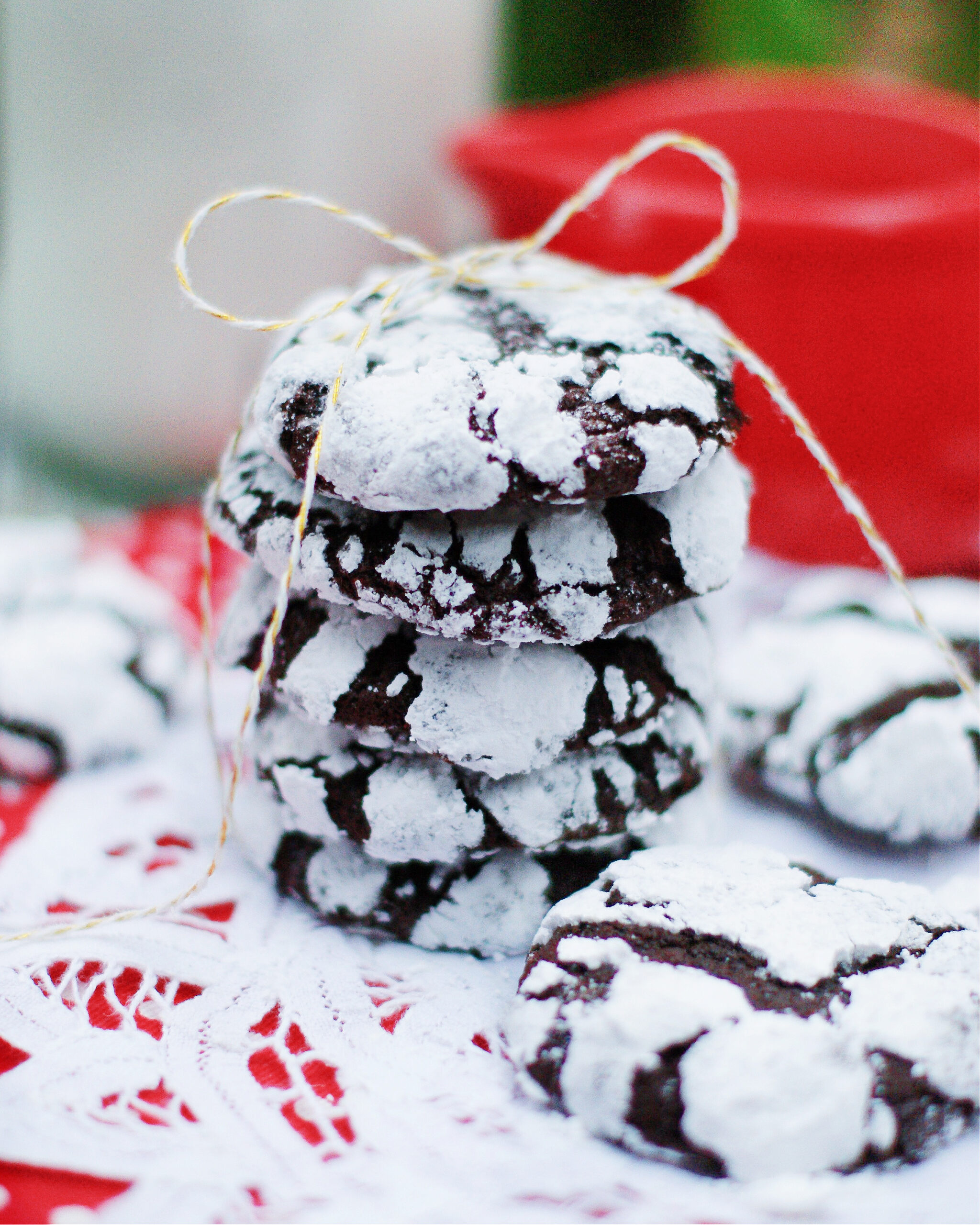A Stack of the best chocolate crinkle cookies to give as a gift.
