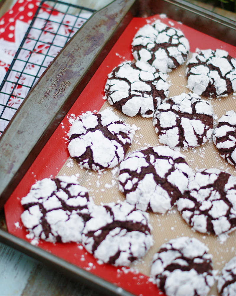 A pan of hot chocolate crinkle cookies fresh from the oven.
