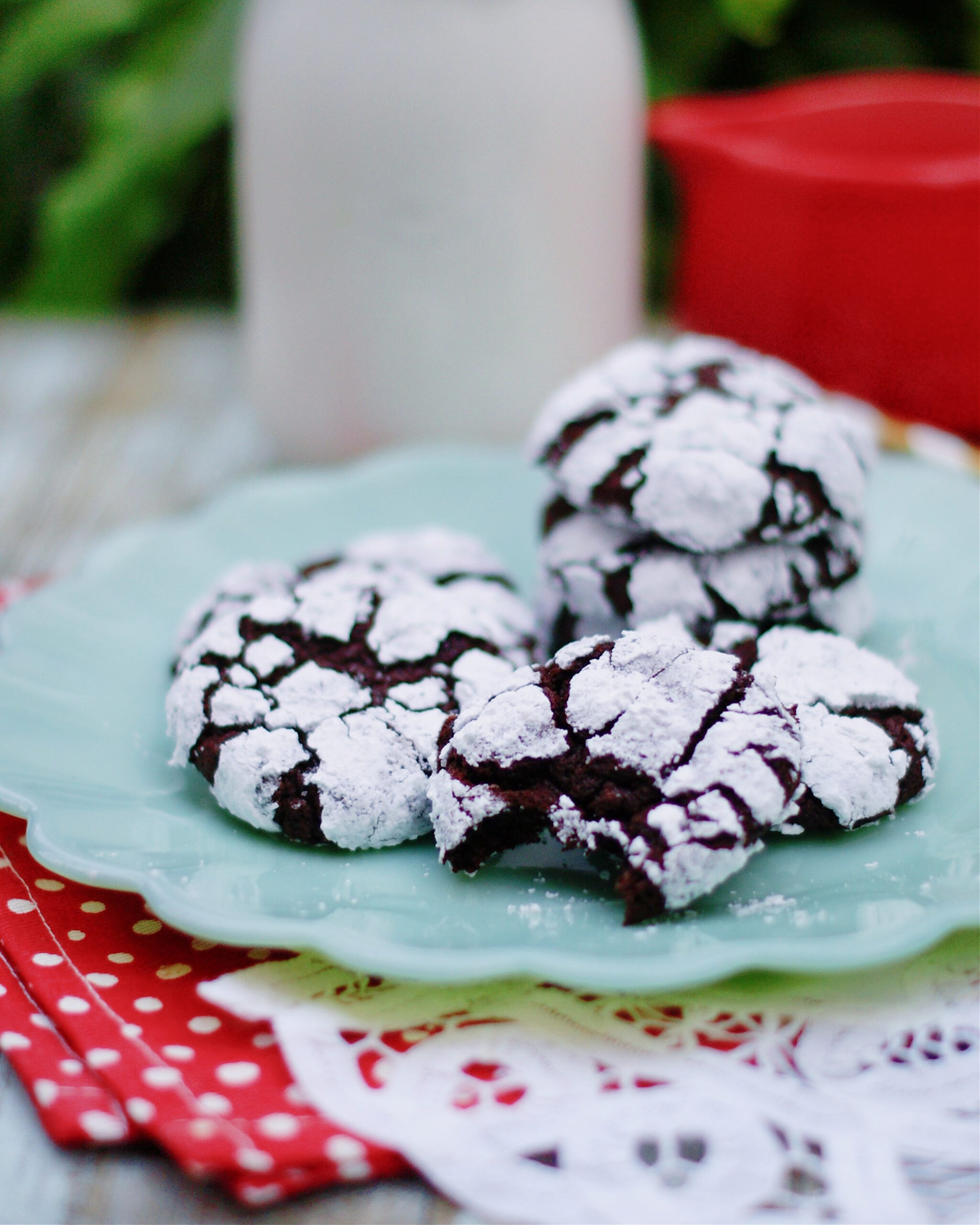 Easy, fudgy chocolate crinkle cookies made with dark cocoa powder