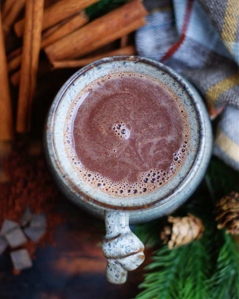 Spicy, rich Mexican Hot Chocolate in a cup