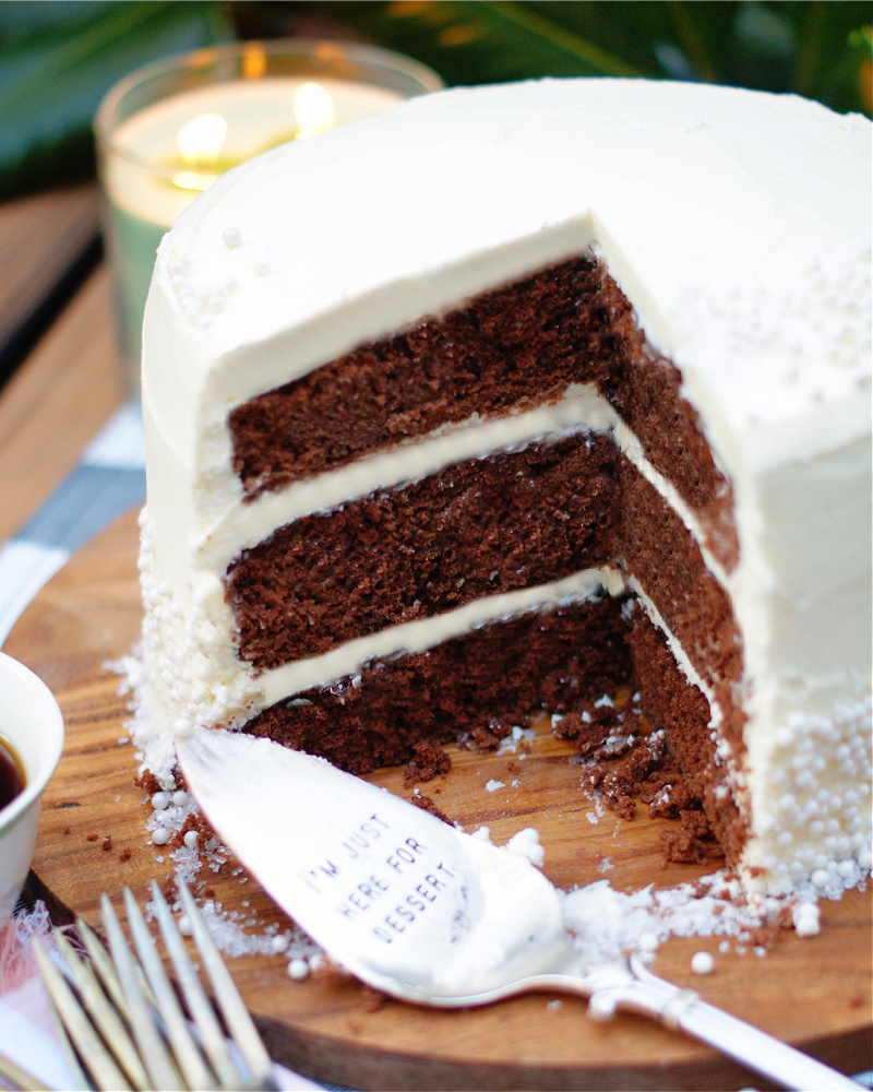 The dark chocolate inside of a 3 layer chocolate cake with white chocolate buttercream.