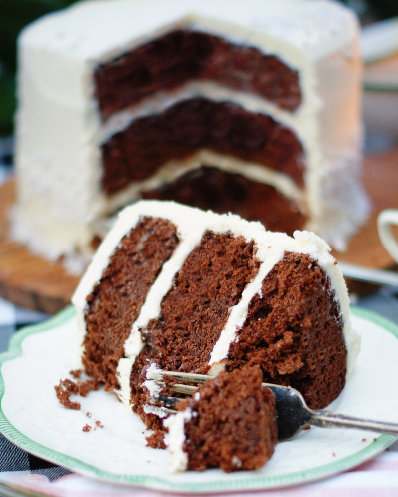A slice of dark chocolate layer cake with a fork