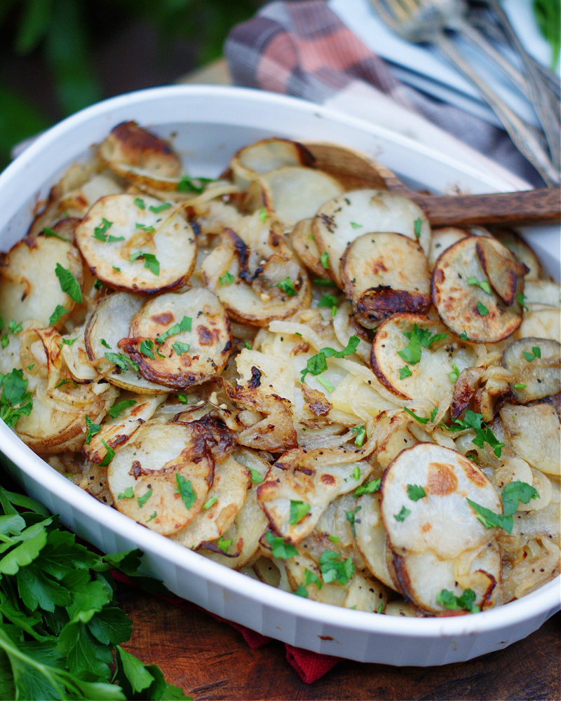 Lyonnaise potatoes in a serving dish for the holidays