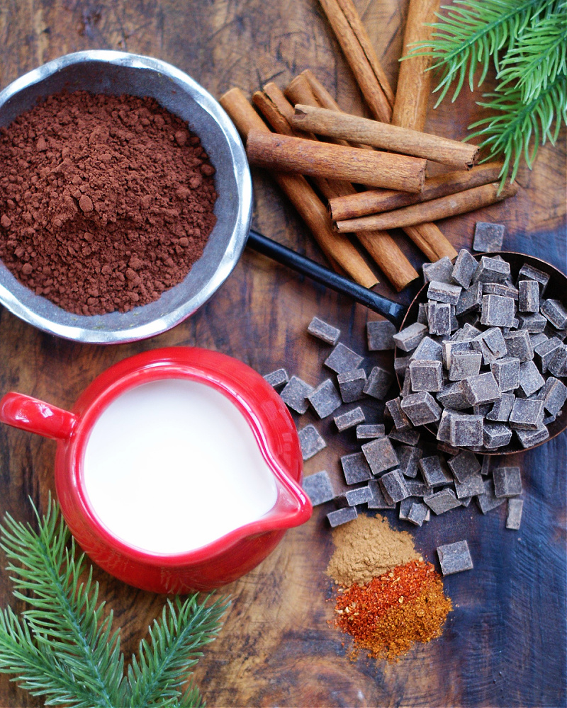 Ingredients to make rich mexican hot chocolate