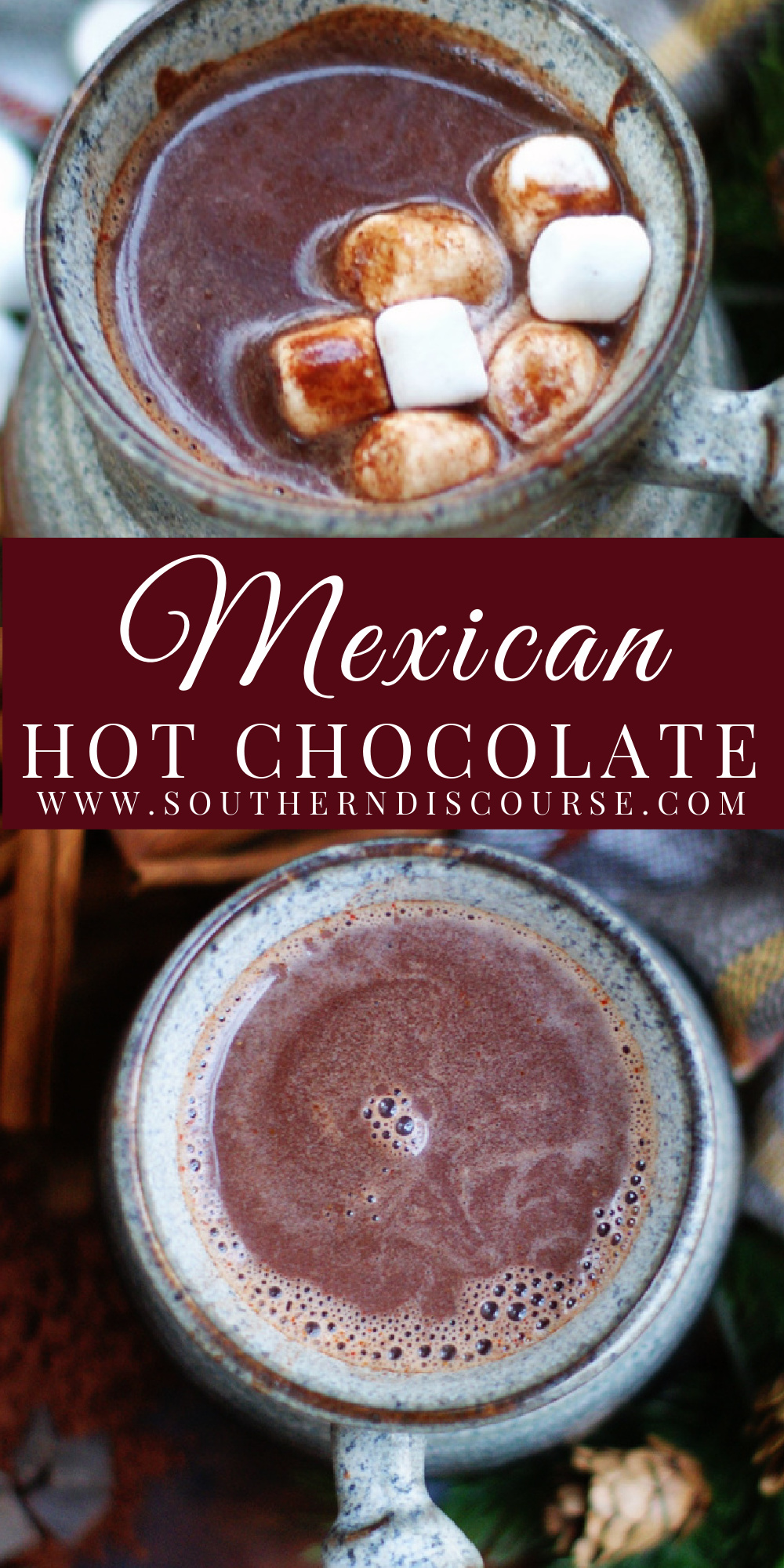 Cozy up with a warm cup of real chocolate with hints of vanilla, cinnamon, cayenne and chile. Homemade Mexican Hot Chocolate is so rich & creamy with just a little spicy kick to warm you from head to toe! On the stove top or in a crock pot, this simple recipe delivers indulgent cups of chocolatey goodness every time.