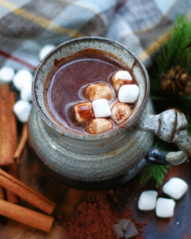 Easy Mexican Hot Chocolate Recipe with cinnamon topped with marshmallows