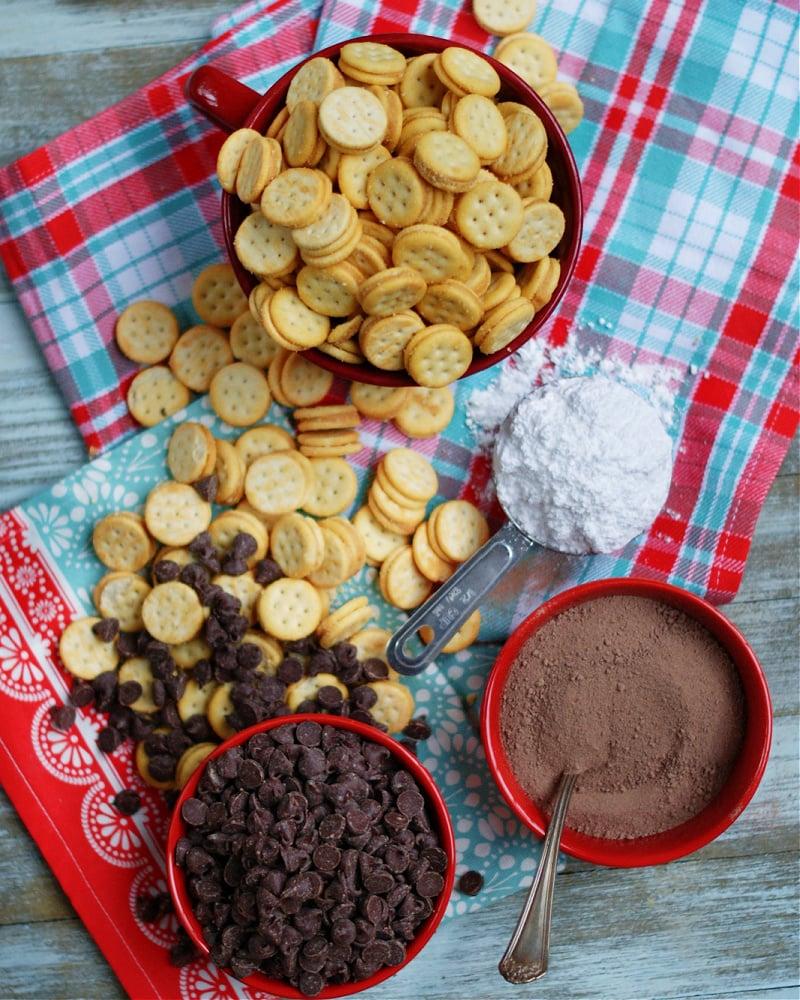 ingredients to make Ritz Bits Muddy Buddies Snack Mix Recipe